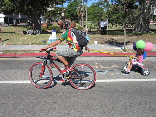"Fu Manchu doing ""Lone Wolf and Cub"" on the CicLAvia"