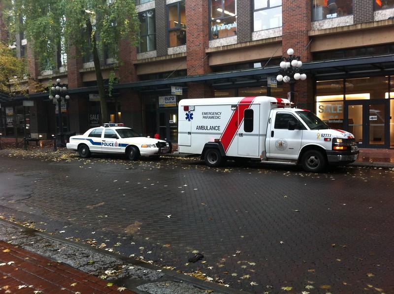 Emergency vehicles in Gastown