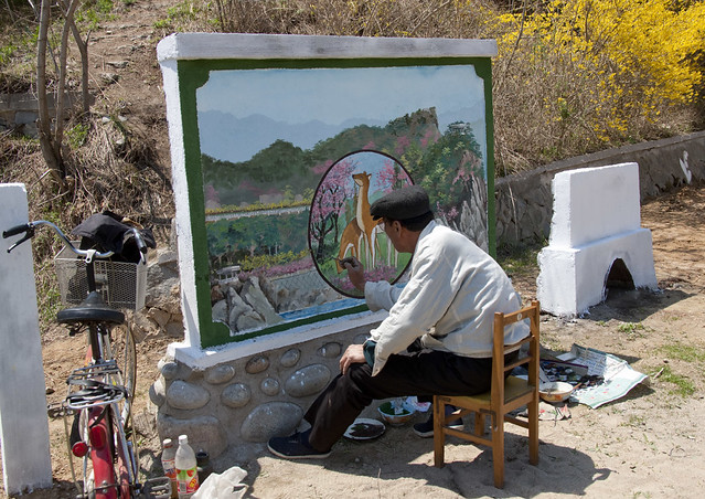 State painter in action - Chilbo sea North Korea
