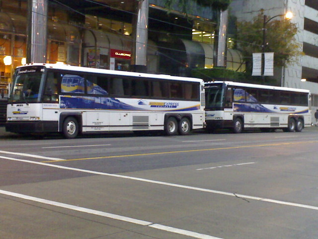 Two West Coast Express Buses at Waterfront Station