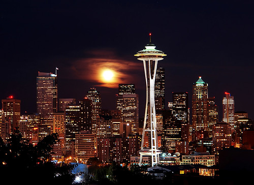 Blue Moon Rising Over Seattle
