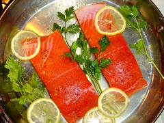 salmon-like fish(0.0), fish(0.0), salmon(1.0), citrus(1.0), sashimi(1.0), fish(1.0), seafood(1.0), garnish(1.0), produce(1.0), food(1.0), dish(1.0), cuisine(1.0), smoked salmon(1.0),