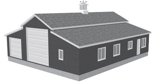 Rv garage plans sdsg450 60 x 50 x 10 apartment barn for 30 x 60 garage plans