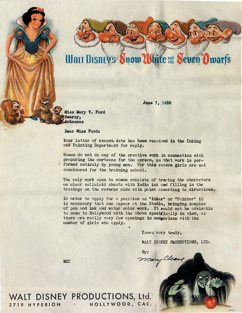 Disney Rejection Letter, 1938