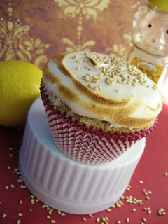 Burnt Honey Sesame Cupcake with Sour Lemon Marmalade