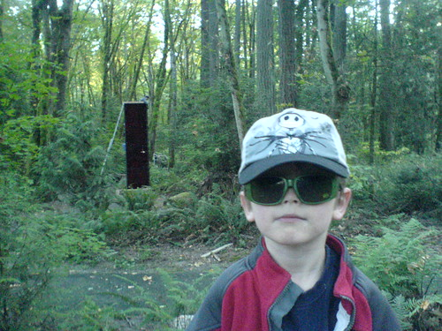 nick posing with an environmental art installation in progress    DSC00343