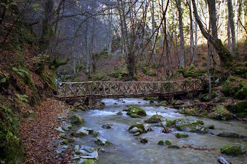 Wooden bridge over Stravopotamos by dkilim