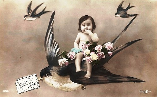 Vintage Postcard ~ Child on Bird
