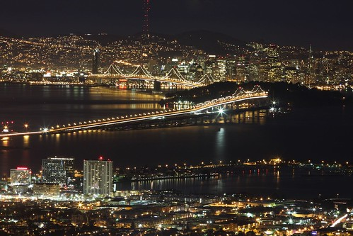 sf sanfrancisco california ca city longexposure bridge urban usa building skyline night america buildings lights bay berkeley view scenic baybridge emeryville sfbay grizzlypeak supershot abigfave aplusphoto