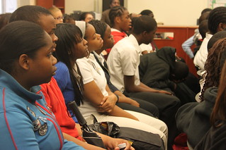 Students listen attentively to Ms. Phyllis