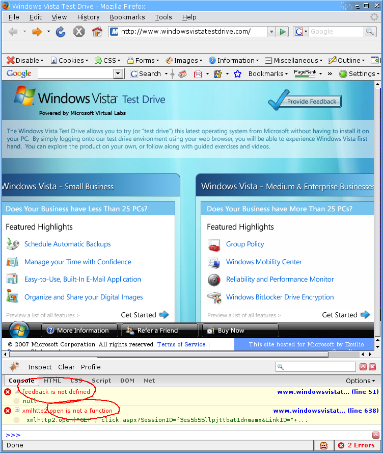 Roland bouman 39 s blog windows vista testdrive feedback for Window is not defined