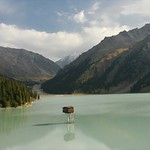Shack in the Middle of Big Almaty Lake - Tian Shan Mountains, Kazakhstan
