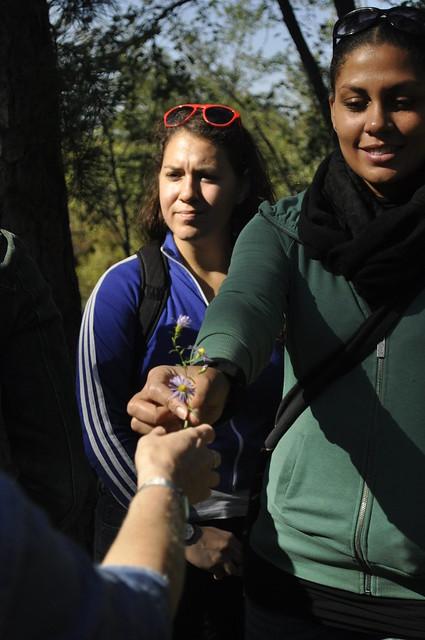 Lauren Deutsch, Centennial Campaign associate, and Kathryn Littlefield, institutional funding manager, holding a species of aster. Photo by Anjali Satyu.