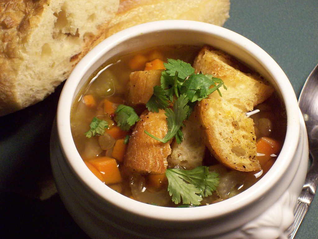 lentil soup with homemade croutons
