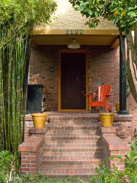 Front porch with Black Bamboo at left