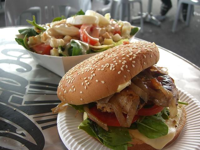 Chicken Burger and Vegie Caesar Salad - Dicky Knees Cafe, … | Flickr ...