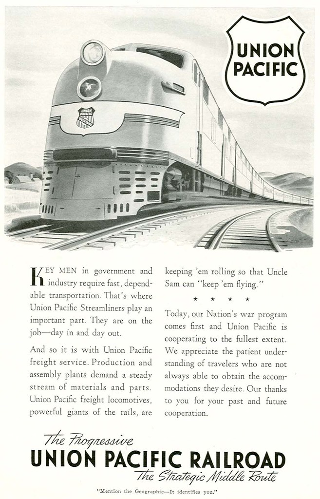 Union Pacific Railroad - published in National Geographic - 1942