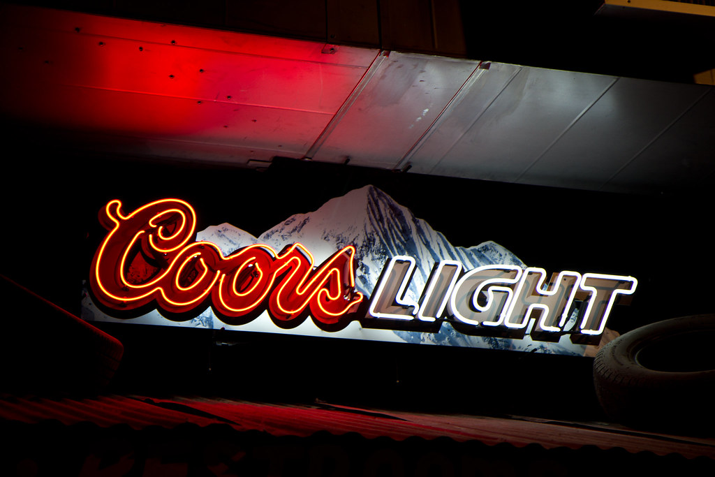 Coors light neon sign at rudys bar b que in colorado springs co coors light neon sign at rudys bar b que in colorado springs co aloadofball Choice Image