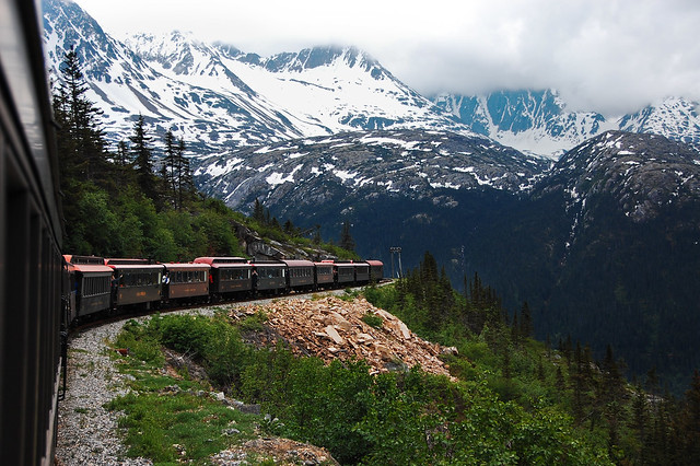 train, mountain, snow