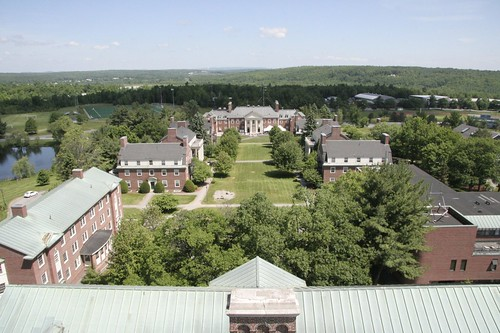 college campus view dorm hill aerial waterville colby mayflower robertsrow