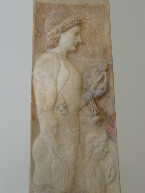 Ancient art grave stele of a little girl