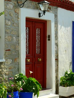 Hydra Town, Greece, red doors