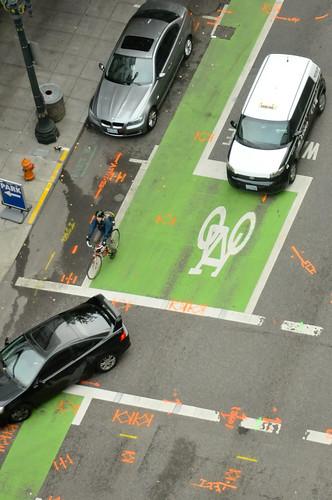 Bike box at Broadway and Taylor from above-1