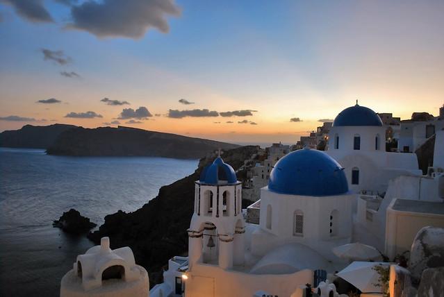 The Classic Oia Santorini Shot Sunset Caldera Aegean Greece Landscape Greek