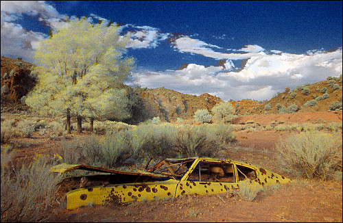 newmexico abandoned car yellow landscape ir automobile infrared arroyo