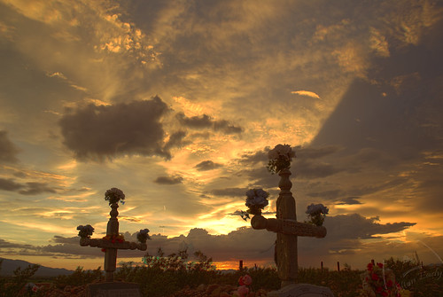 flowers sunset usa cemetery night clouds landscape al cross sundown dusk az hdr photoshopcs2 gravesite safford sonyalpha ©æ aplusphoto saffordaz minoltaaf20 ahlston