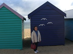 Aunt Lee Leng behind Brighton Bathing Boxes