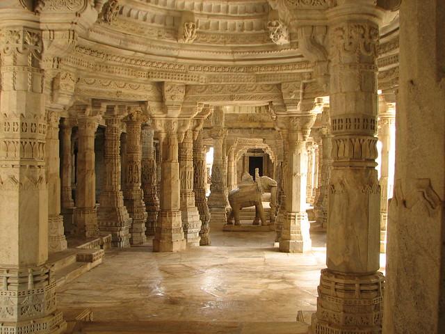 India - Udaipur - 031 - carved elephant in the Ranakpur Jain Temple