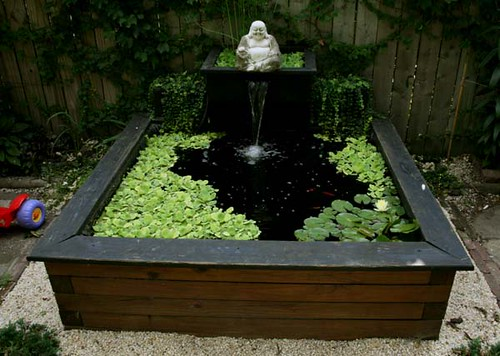 Pond ideas a gallery on flickr for Raised koi pond ideas