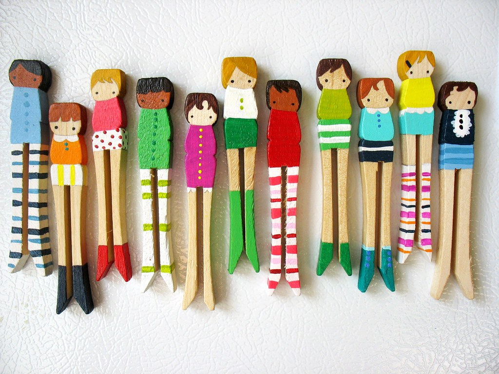 Handmade Wooden Folk Art Magnets