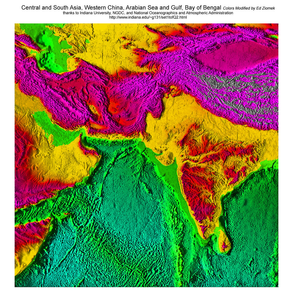 Central South Asia, Arabian Sea, Persian Gulf States, Ocean Floor Ancient  Roads,
