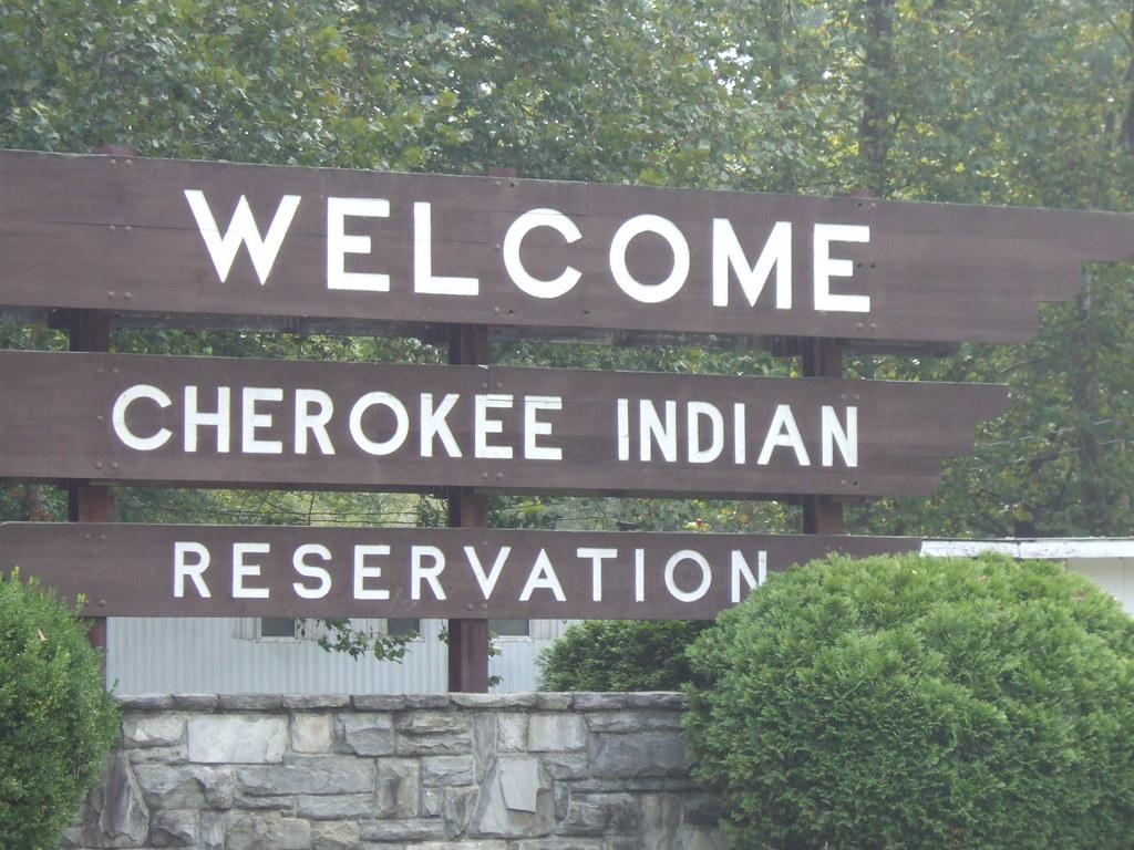 Welcome sign, Cherokee, NC
