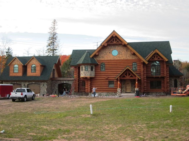 This log home is made from engellman spruce frontier log Northern wisconsin home builders