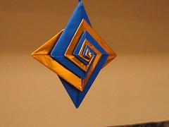 Paper Ornament 12 Photos | blue with gold foil paper origami ornament | 359