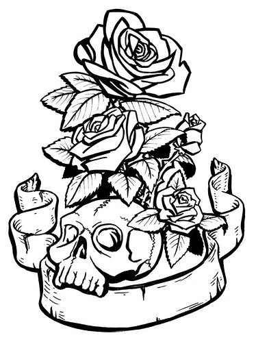 Roses and skulls tattoo designs for Skulls and roses coloring pages