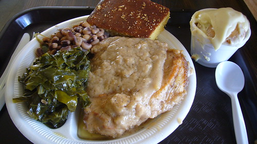 Smothered pork chop, banana pudding