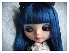 nose, hime cut, face, hairstyle, clothing, head, hair, long hair, hair coloring, wig, blue, doll, eye, organ, toy,