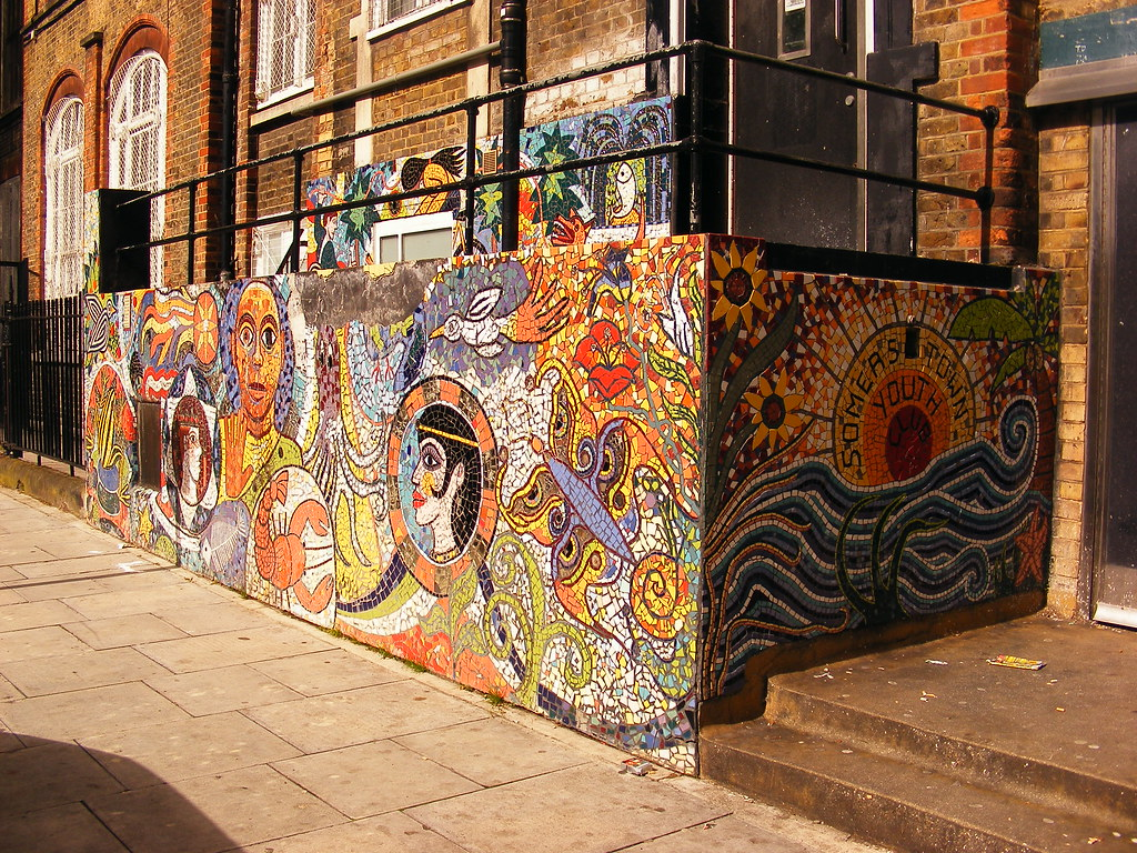 Somers town youth club mosaic mural mural somers town for Mural mosaic