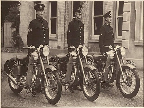 British police precision motorcycle team on their Royal Enfield motorcycles