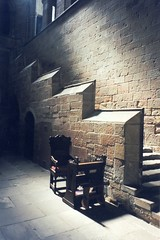Staircase and chairs, Hexham Abbey