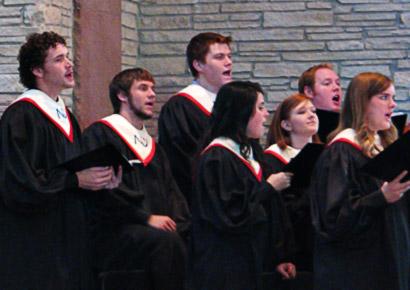 Newman University students singing