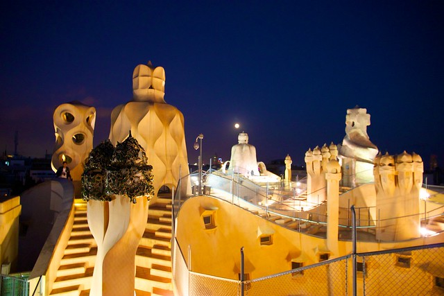 Moonlight over the roof of La Pedrera
