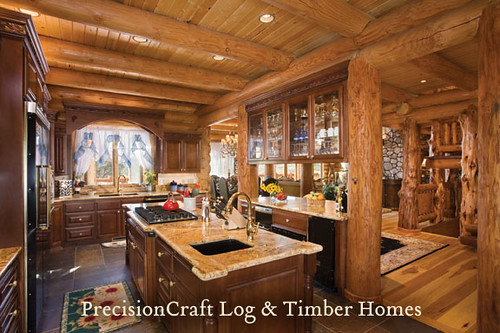 Milled Log Home Kitchen PrecisionCraft Log Homes Timber Homes