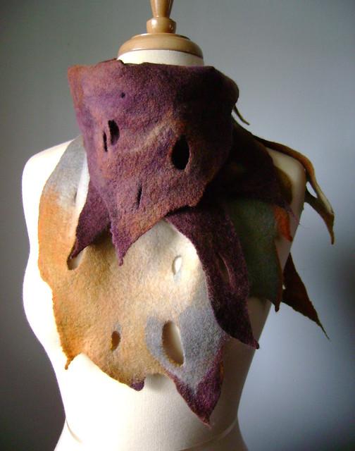 Felted scarf wool silk asymmetrical neckwarmer / capelet / hip wrap RUST THROUGH THE SKIN / OOAK