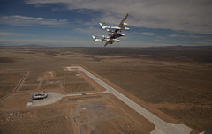 VMS Eve and VSS Enterprise at Spaceport America Runway Dedication. Photo by Mark Greenberg