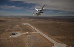 VMS Eve and VSS Enterprise at Spaceport America Runway Dedication. Photo by Mark Greenberg